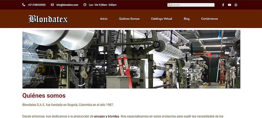 Colombian company Blondatex website, developed by Federici.Vip